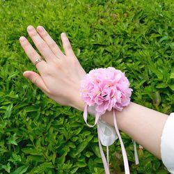브라이덜샤워 꽃 팔찌 핑크