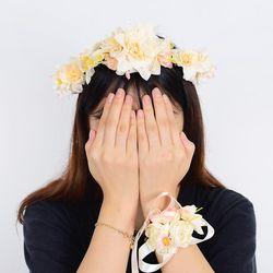 브라이덜 화관 꽃 팔찌 세트