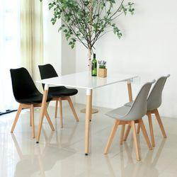 4인식탁 화이트사각테이블 w1200