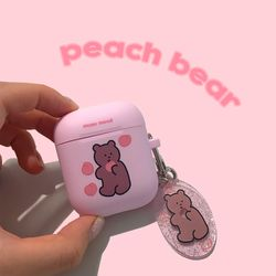 peach bear airpods case (에어팟케이스)