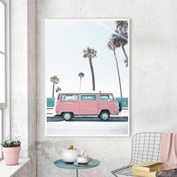 핑크버스 여름 그림 인테리어 액자 A3 포스터