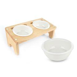 원목 애견 고양이 반려동물 식탁2구 도자기식기 세트