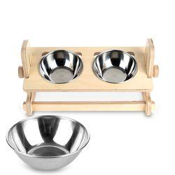 원목 애견 고양이 반려동물 높이조절 식탁2구 스텐식기 세트