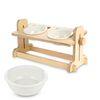 원목 애견 고양이 반려동물 높이조절 식탁2구 도자기식기 세트