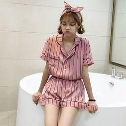 핑크 스트라이프 여성잠옷 파자마