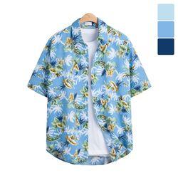 오버핏 야자수 하와이안 반팔 셔츠 SHT202