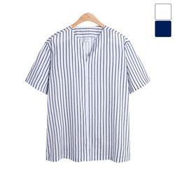 브이넥 줄지 반팔 셔츠 SHT191