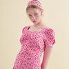 Puff Shoulder Mini Dress Pink