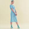 Midi Shirring Blue Dress