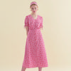 String Sleeve Long Dress Pink