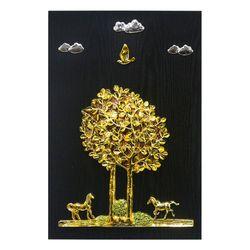 황금 나무와 말 부조액자 40x60