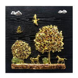 황금 나무와 말 부조액자 50x50