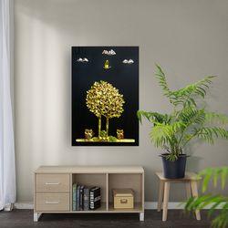 황금 나무와 부엉이 부조액자 40x60