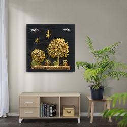 황금 나무와 부엉이 부조액자 50x50