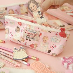 Oilcloth pouch P - heart pink