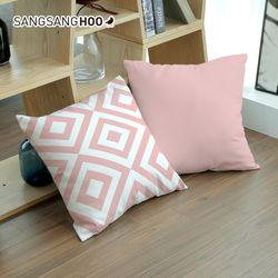 핑크 러블리스퀘어 북유럽 쿠션 커버 45x45cm