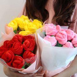 갓샵 장미꽃 인형 꽃다발 3color