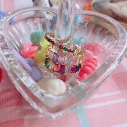레인보우 바게트 반지 (2 colors)