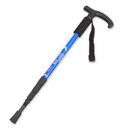 안전한 등산을 위한 4단 T자 등산스틱 파랑 낱개1개