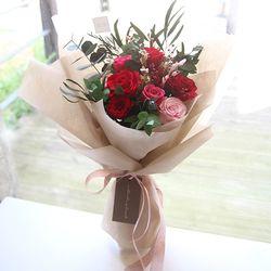 레드&핑크장미꽃다발(프리저브드플라워)