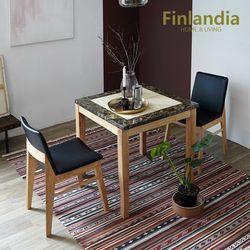 핀란디아 아레스 리오 2인대리석식탁세트 블랙방석(의자2)