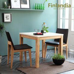 핀란디아 아레스 자비 2인대리석식탁세트 블랙방석(의자2)