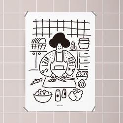 유니크 디자인 인테리어 포스터 M 오늘의 요리 식당 A3(중형)