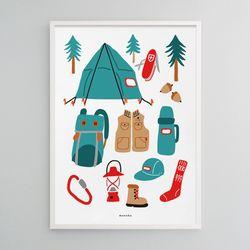 유니크 디자인 인테리어 포스터 M 고 캠핑2 아웃도어 A3(중형)