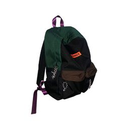 COLOR BLOCKING BACKPACK (GREEN BROWN)