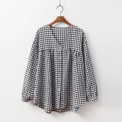 Gingham Shirring Blouse