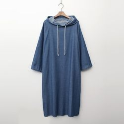 Denim Hoodie Long Dress