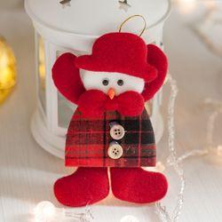 모자체크 눈사람 13cm 트리 크리스마스 인형 TRDOLC
