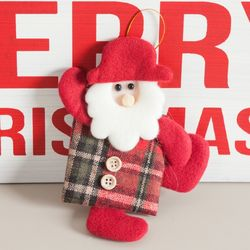 모자체크선물산타 16cm 트리 크리스마스 인형 TRDOLC