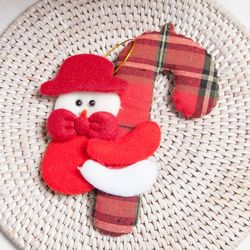 모자체크지팡이 15cm 트리 크리스마스 인형 TRDOLC