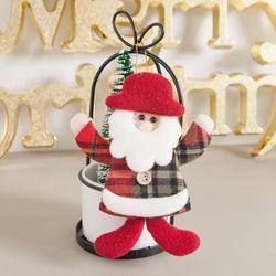 모자체크산타 14cm 트리 크리스마스 장식 인형 TRDOLC