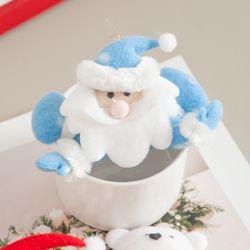 엎드린 산타 블루 11cm 트리 크리스마스 인형 TRDOLC