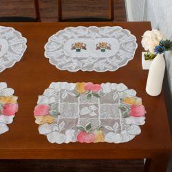 프렌치 레이스 테이블 러너 2종 4p세트(화분 사과)