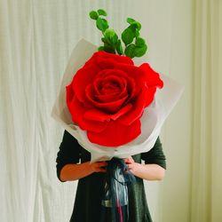 자이언트 로즈 한송이 꽃다발-꽃다발선물장미선물장미꽃
