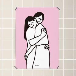 유니크 디자인 인테리어 포스터 M 허그 hug A3(중형)