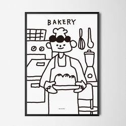 유니크 디자인 인테리어 포스터 M 식빵맨 베이커리 A3(중형)