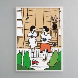 유니크 디자인 인테리어 포스터 M 자매 sisters A3(중형)