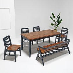 마론 원목 6인식탁세트 식탁의자4개(벤치형)