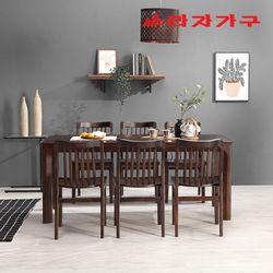 토빌 고무나무 원목 식탁 세트 6인용 의자형 B