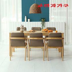 토빌 고무나무 원목 식탁 세트 6인용 의자형 A