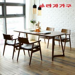 도스 고무나무 원목 4인 와이드 식탁 세트 의자형