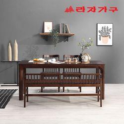 토빌 고무나무 원목 와이드 식탁 세트 4인용 벤치형 B