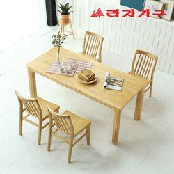 토빌 고무나무 원목 와이드 식탁 세트 4인용 의자형 B