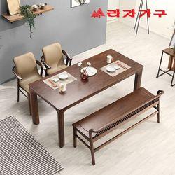 토빌 고무나무 원목 와이드 식탁 세트 4인용 벤치형 A