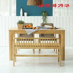 토빌 고무나무 원목 식탁 세트 4인용 벤치형 A
