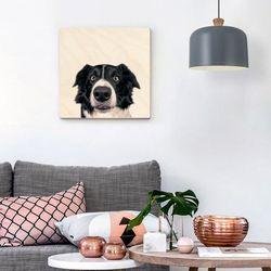 대형 사각형 강아지 얼굴 자작나무 벽걸이 액자